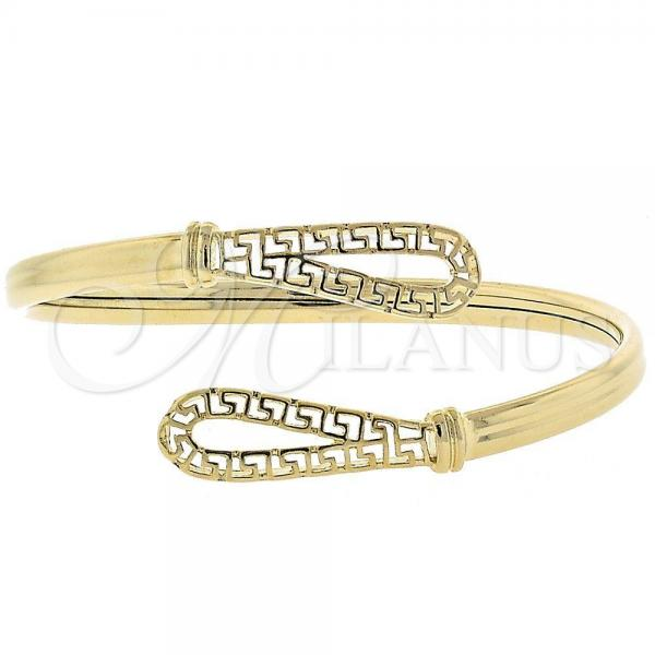 Gold Layered 5.230.011 Individual Bangle, Greek Key and Teardrop Design, Polished Finish, Golden Tone (05 MM Thickness, One size fits all)