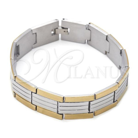 Stainless Steel 03.63.1716.08 Solid Bracelet, Diamond Cutting Finish, Two Tone