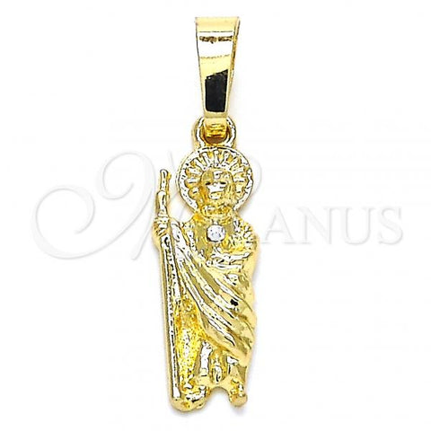 Gold Layered 05.213.0065 Religious Pendant, San Judas Design, with White Crystal, Polished Finish, Golden Tone