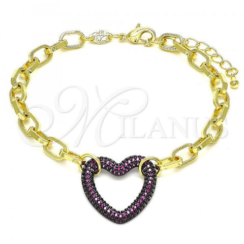 Gold Layered 03.341.0054.2.07 Fancy Bracelet, Paperclip and Heart Design, with Garnet Micro Pave, Polished Finish, Black Rhodium Tone
