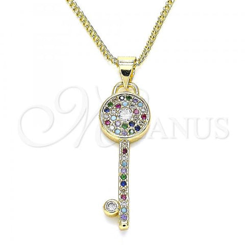 Gold Layered 04.344.0007.2.20 Pendant Necklace, key Design, with Multicolor Micro Pave, Polished Finish, Golden Tone
