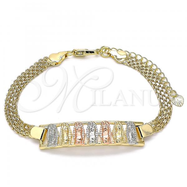 Gold Layered 03.380.0026.07 Fancy Bracelet, Guadalupe Design, Polished Finish, Tri Tone