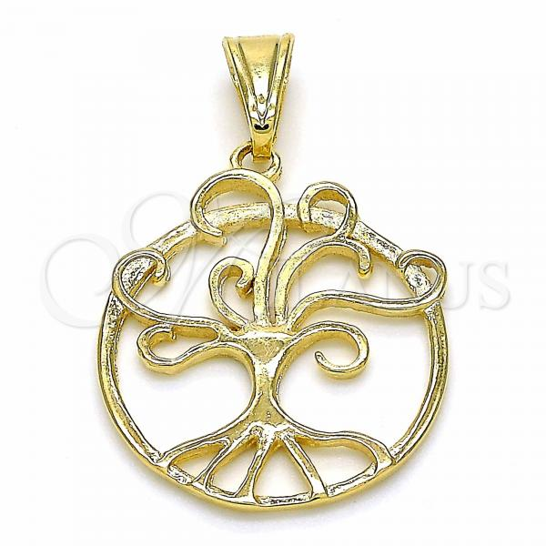 Gold Layered 05.09.0063 Fancy Pendant, Tree and Filigree Design, Polished Finish, Golden Tone