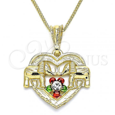Gold Layered 04.351.0020.3.20 Pendant Necklace, Heart and Elephant Design, with White Crystal, Polished Finish, Tri Tone