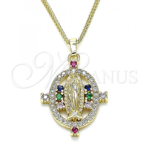 Gold Layered 04.284.0049.1.20 Pendant Necklace, Guadalupe Design, with Multicolor Micro Pave, Polished Finish, Golden Tone