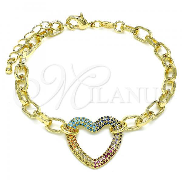 Gold Layered 03.341.0054.1.07 Fancy Bracelet, Paperclip and Heart Design, with Multicolor Micro Pave, Polished Finish, Golden Tone