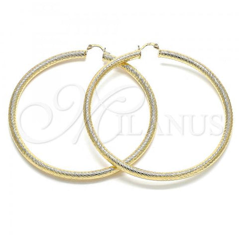 Gold Layered 02.170.0310.90 Extra Large Hoop, Hollow Design, Diamond Cutting Finish, Golden Tone