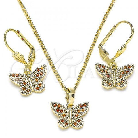 Gold Layered 10.284.0012.1 Earring and Pendant Adult Set, Butterfly Design, with Garnet Micro Pave, Polished Finish, Golden Tone
