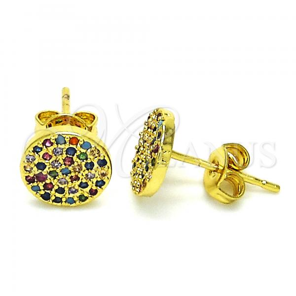 Gold Layered 02.341.0024 Stud Earring, with Multicolor Micro Pave, Polished Finish, Golden Tone