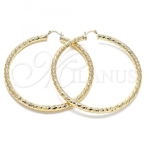 Gold Layered 02.170.0313.80 Extra Large Hoop, Hollow Design, Diamond Cutting Finish, Golden Tone