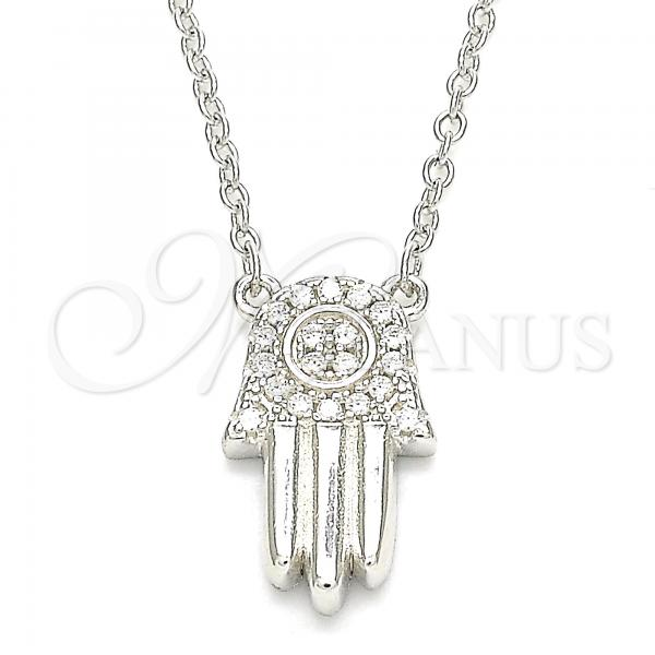 Sterling Silver 04.336.0207.16 Fancy Necklace, Hand of God Design, with White Crystal, Polished Finish, Rhodium Tone