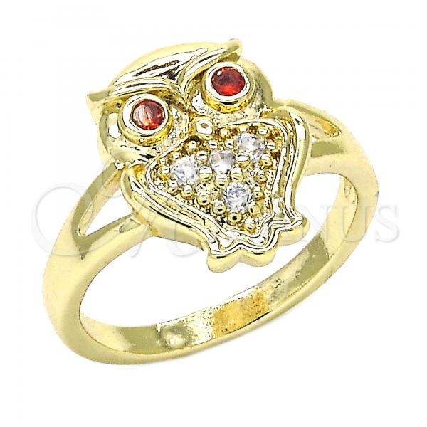 Gold Layered Multi Stone Ring, Owl Design, with Cubic Zirconia, Golden Tone