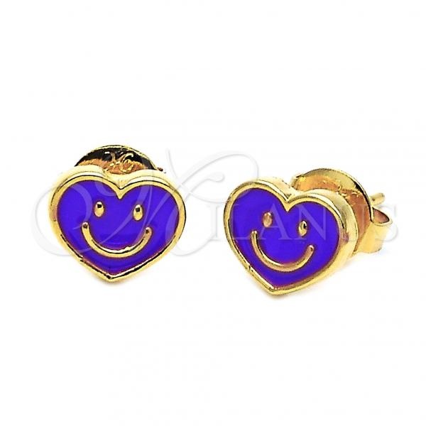 Gold Layered 02.64.0238 Stud Earring, Heart and Smile Design, Enamel Finish, Golden Tone