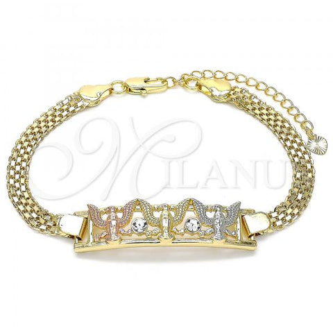 Gold Layered 03.380.0028.08 Fancy Bracelet, Eagle Design, with White Crystal, Polished Finish, Tri Tone