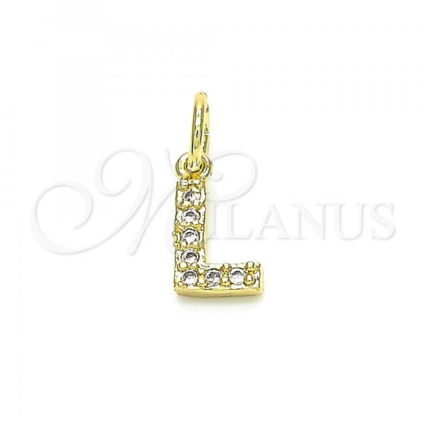 Gold Layered 05.341.0032 Fancy Pendant, Initials Design, with White Cubic Zirconia, Polished Finish, Golden Tone