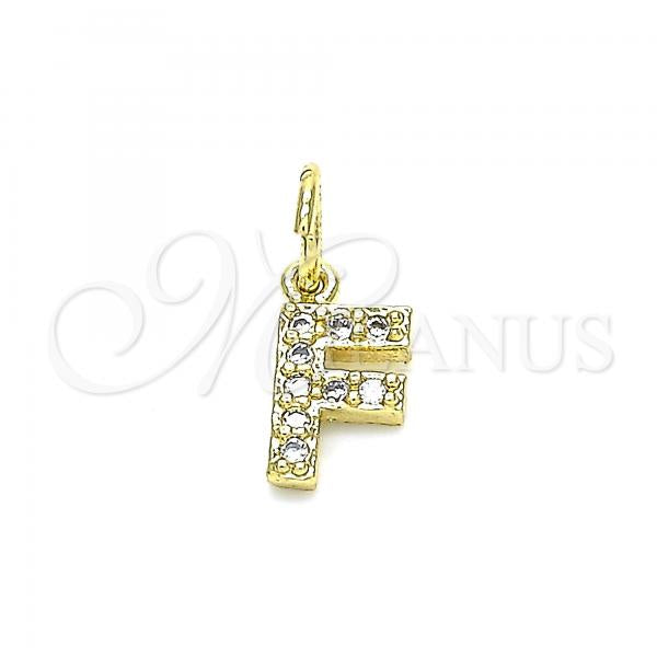 Gold Layered 05.341.0026 Fancy Pendant, Initials Design, with White Cubic Zirconia, Polished Finish, Golden Tone
