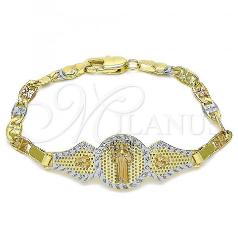 Gold Layered 03.253.0052.06 Fancy Bracelet, San Benito and Heart Design, Polished Finish, Tri Tone