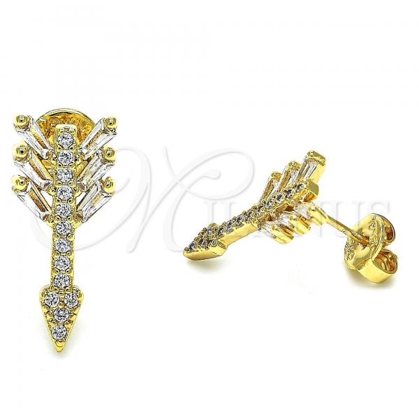 Gold Layered 02.94.0082 Stud Earring, with White Cubic Zirconia, Polished Finish, Golden Tone