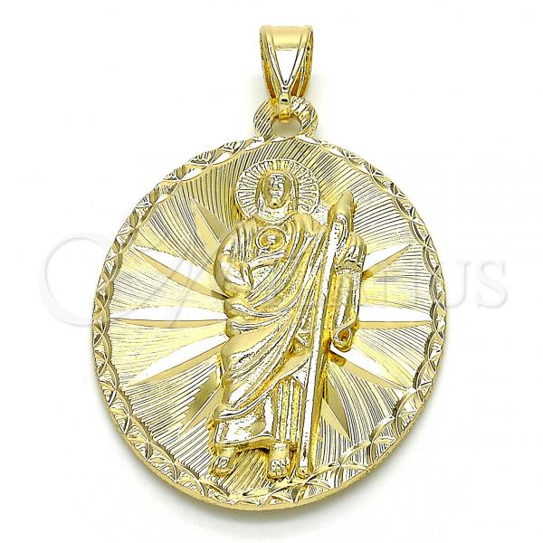 Gold Layered 05.213.0061 Religious Pendant, San Judas Design, Diamond Cutting Finish, Golden Tone