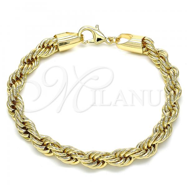 Gold Layered 04.213.0207.08 Basic Bracelet, Rope Design, Polished Finish, Golden Tone