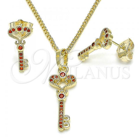 Gold Layered 10.284.0011.1 Earring and Pendant Adult Set, key Design, with Garnet Micro Pave, Polished Finish, Golden Tone
