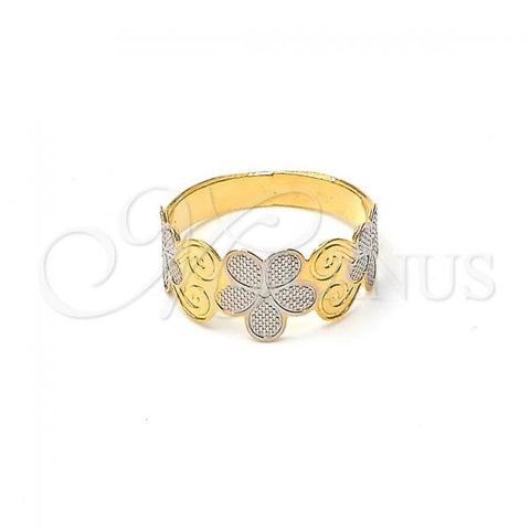 Gold Layered Baby Ring, Flower Design, Two Tone