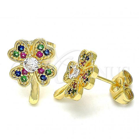 Gold Layered 02.210.0426.1 Stud Earring, Four-leaf Clover Design, with Multicolor Micro Pave, Polished Finish, Golden Tone