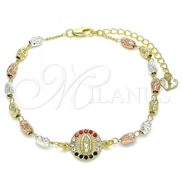 Gold Layered 03.253.0059.2.07 Fancy Bracelet, Guadalupe Design, with Multicolor Crystal, Diamond Cutting Finish, Tri Tone