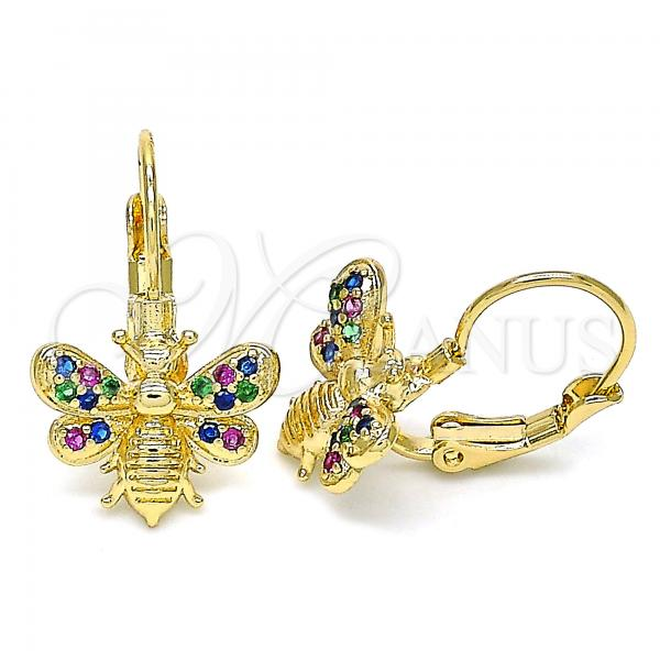 Gold Layered 02.210.0378.3 Leverback Earring, Bee Design, with Multicolor Micro Pave, Polished Finish, Golden Tone