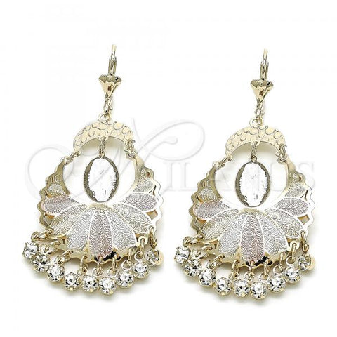 Gold Layered 02.351.0055 Chandelier Earring, Guadalupe Design, with White Crystal, Polished Finish, Tri Tone