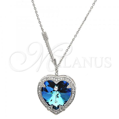 Rhodium Plated Pendant Necklace, Heart Design, with Swarovski Crystals and Micro Pave, Rhodium Tone