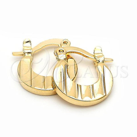 Gold Layered 5.159.066 Children Hoop, Diamond Cutting Finish, Golden Tone