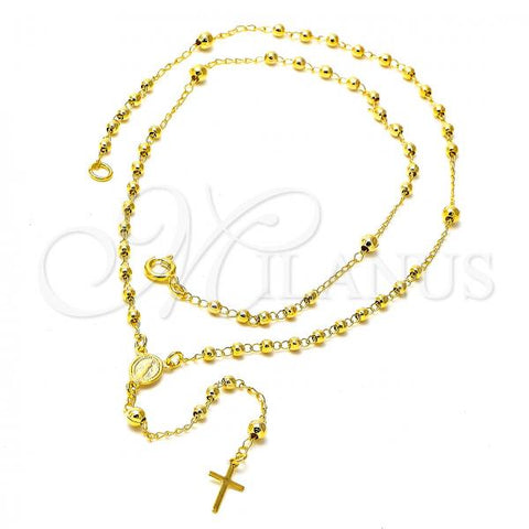 Gold Layered 04.09.0008.18 Thin Rosary, Virgen Maria and Cross Design, Polished Finish, Golden Tone