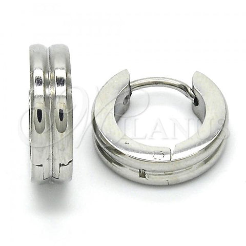 Stainless Steel 02.216.0027.15 Huggie Hoop, Polished Finish, Steel Tone