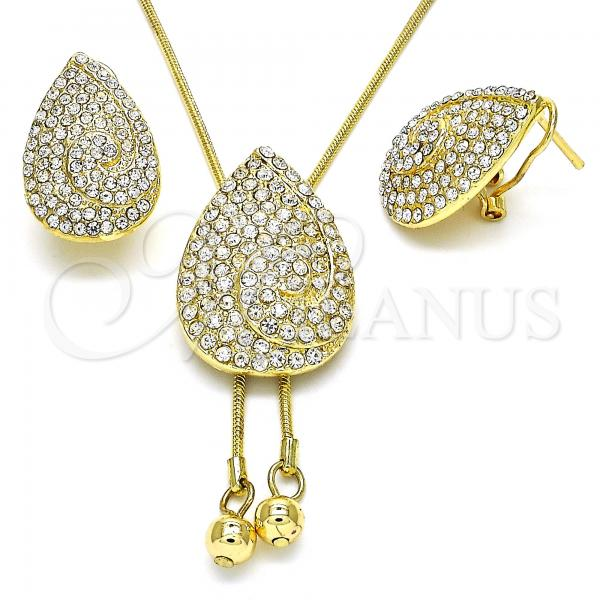 Gold Layered 10.160.0159 Earring and Pendant Adult Set, Teardrop Design, with White Crystal, Polished Finish, Golden Tone