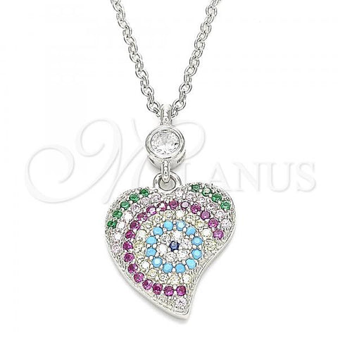 Sterling Silver 04.336.0225.16 Fancy Necklace, Heart Design, with Multicolor Cubic Zirconia, Polished Finish, Rhodium Tone