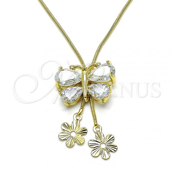 Gold Layered 04.347.0007.20 Fancy Necklace, Butterfly and Flower Design, with White Cubic Zirconia, Polished Finish, Golden Tone