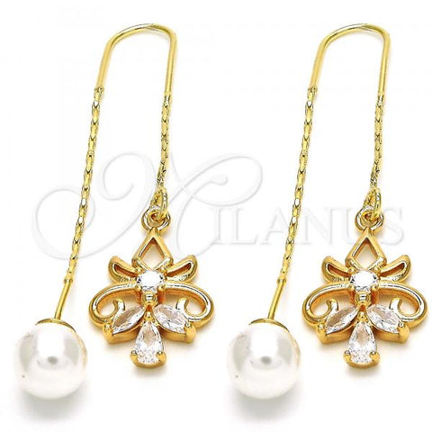 Gold Layered 02.323.0046 Threader Earring, Teardrop Design, with White Cubic Zirconia, Polished Finish, Golden Tone
