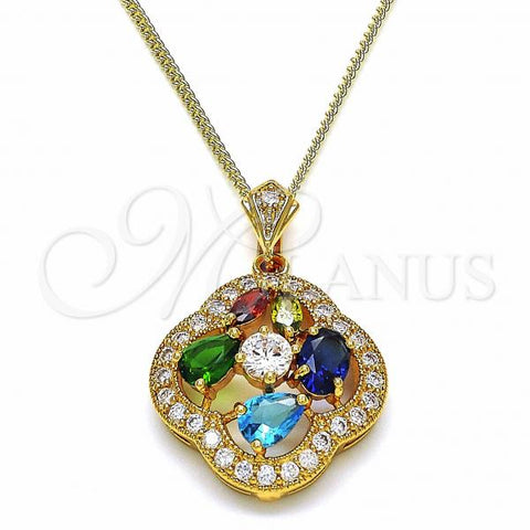 Gold Layered 04.284.0021.20 Fancy Necklace, Flower and Teardrop Design, with Multicolor Cubic Zirconia, Polished Finish, Golden Tone