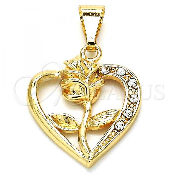 Gold Layered 05.253.0057 Fancy Pendant, Heart and Flower Design, with White Crystal, Polished Finish, Golden Tone