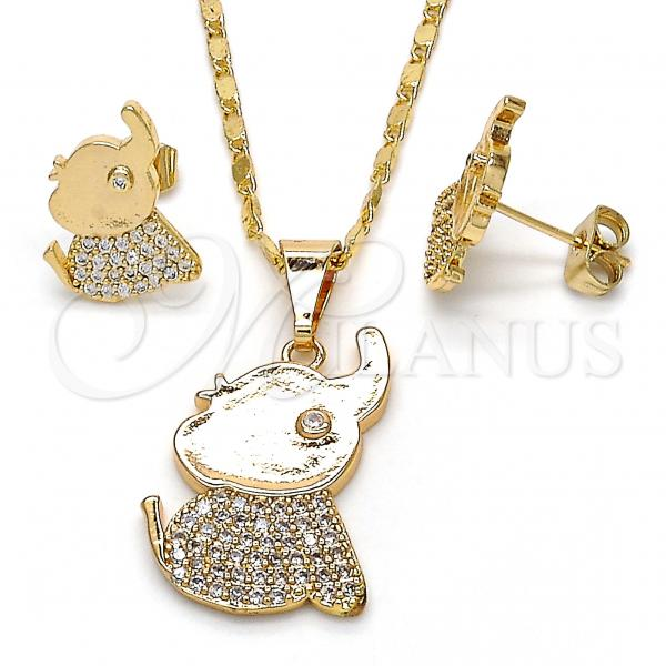 Gold Layered 10.316.0030 Earring and Pendant Adult Set, Elephant Design, with White Cubic Zirconia, Polished Finish, Golden Tone