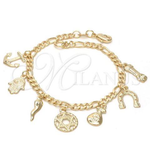 Gold Layered 03.32.0074.07 Charm Bracelet, Star of David and Anchor Design, Polished Finish, Golden Tone