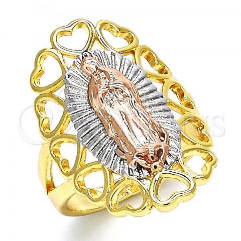 Gold Layered Elegant Ring, Guadalupe and Heart Design, Tri Tone