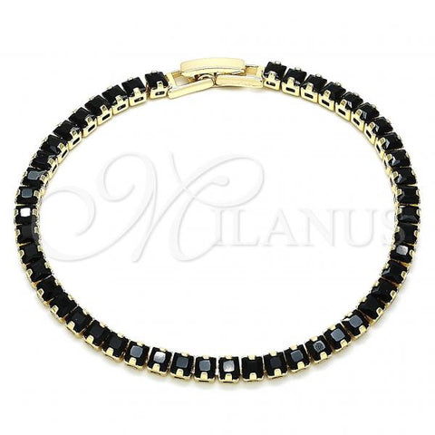 Gold Layered 03.130.0003.07 Tennis Bracelet, Polished Finish, Golden Tone with Black Cubic Zirconia, Polished Finish, Golden Tone