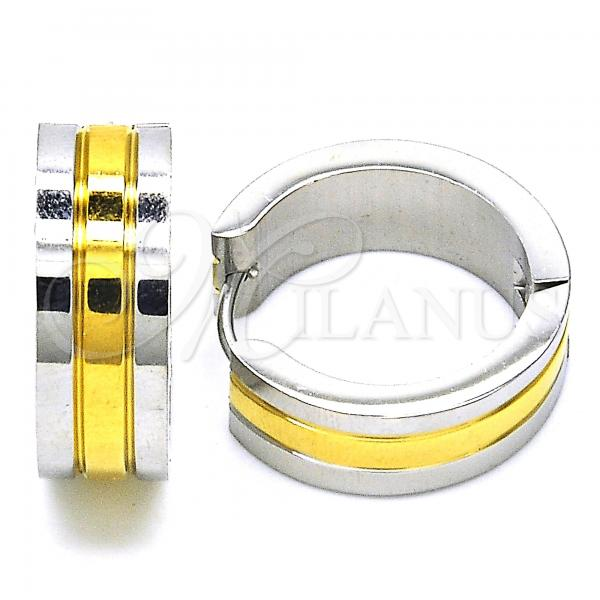Stainless Steel 02.216.0062.20 Huggie Hoop, Polished Finish, Two Tone