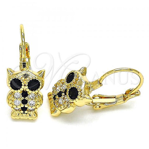 Gold Layered 02.210.0380.2 Leverback Earring, Owl Design, with Black and White Micro Pave, Polished Finish, Golden Tone