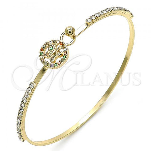 Gold Layered 07.193.0023.1.04 Individual Bangle, Butterfly Design, with Multicolor Micro Pave and White Crystal, Polished Finish, Golden Tone (02 MM Thickness, Size 4 - 2.25 Diameter)