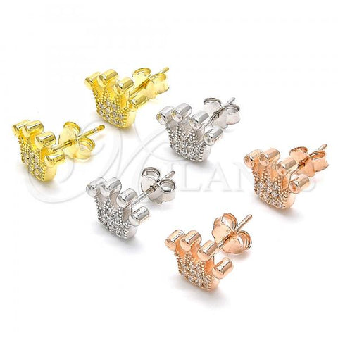 Sterling Silver Stud Earring, Crown Design, with Cubic Zirconia, Rhodium Tone