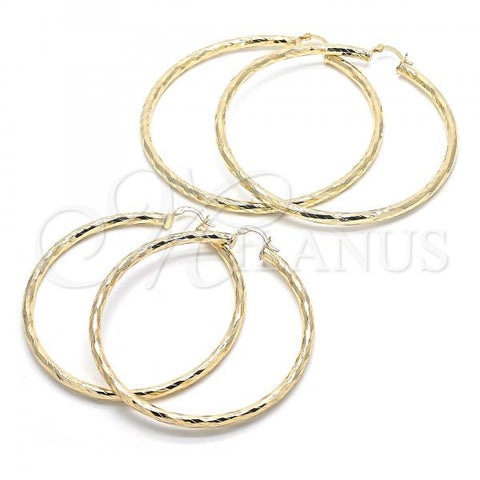 Gold Layered Extra Large Hoop, Hollow Design, Golden Tone