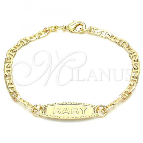 Gold Layered 03.63.2163.06 ID Bracelet, Mariner Design, Polished Finish, Golden Tone